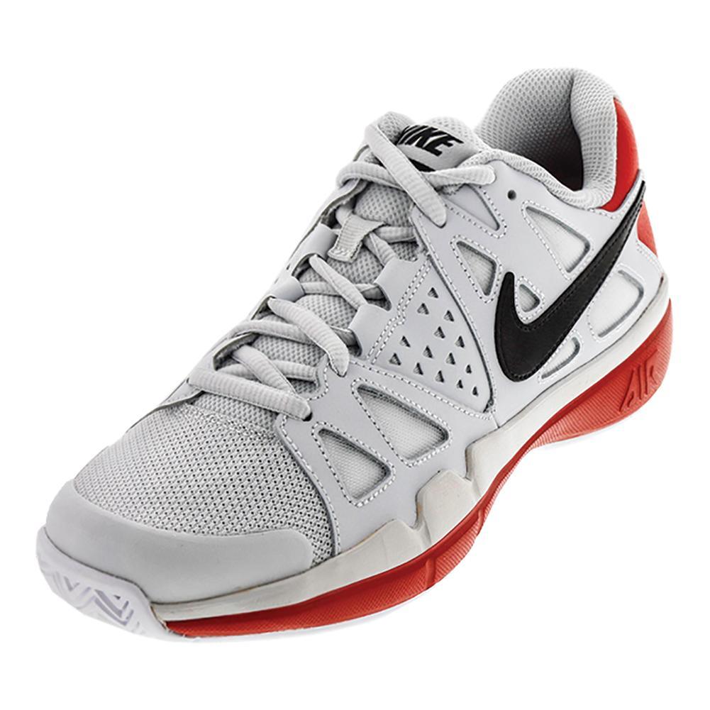 Men's Air Vapor Advantage Tennis Shoes Pure Platinum And University Red