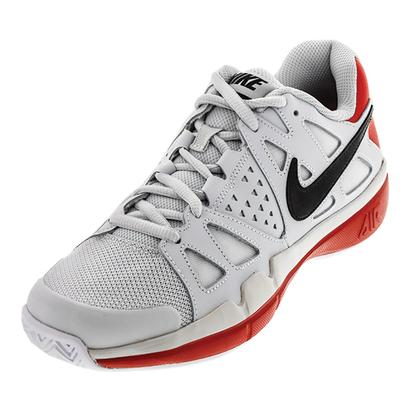 Men`s Air Vapor Advantage Tennis Shoes Pure Platinum and University Red