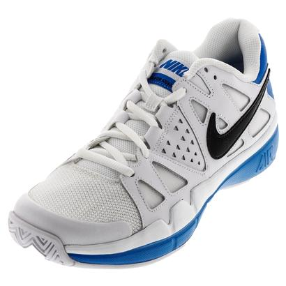 Men`s Air Vapor Advantage Tennis Shoes White and Light Photo Blue