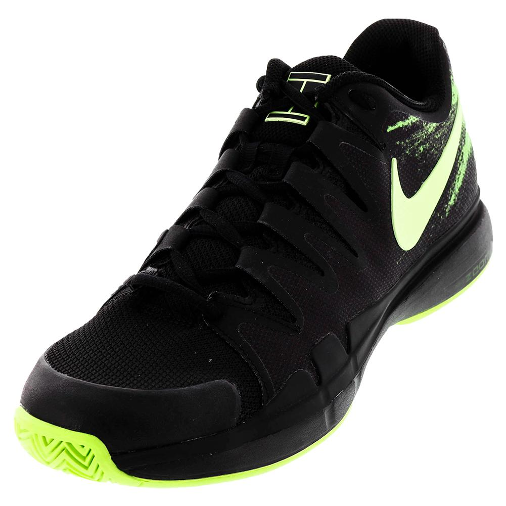Men's Zoom Vapor 9.5 Tour Tennis Shoes Black And Ghost Green