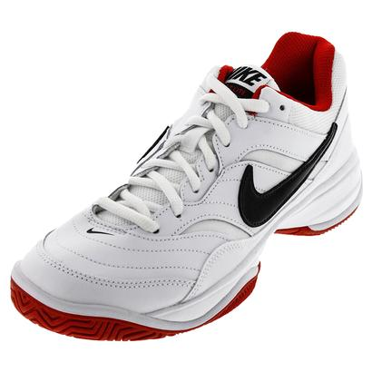 Men`s Court Lite Tennis Shoes White and University Red