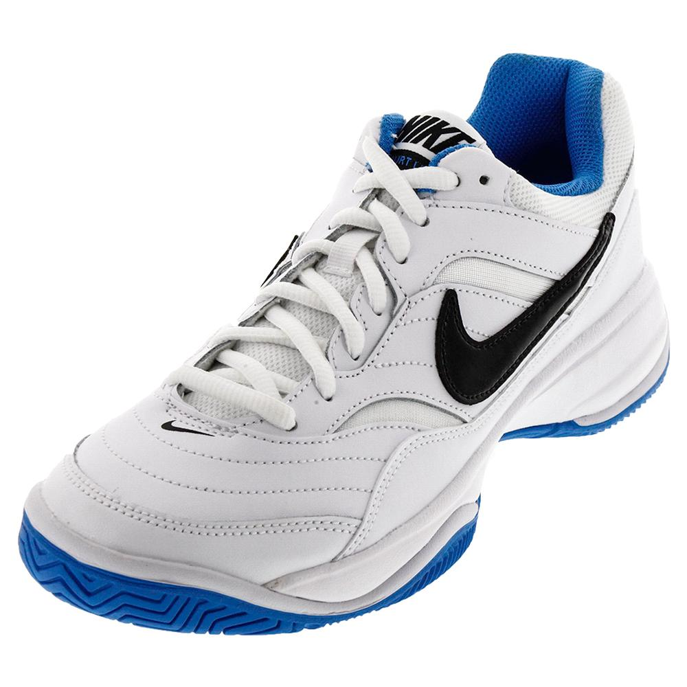 Men's Court Lite Tennis Shoes White And Light Photo Blue