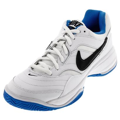 Men`s Court Lite Tennis Shoes White and Light Photo Blue