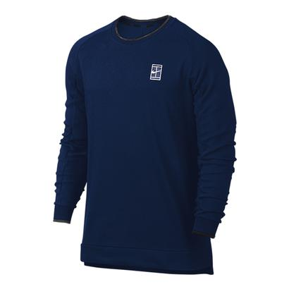 Men`s Court Baseline Long Sleeve Tennis Top Binary Blue