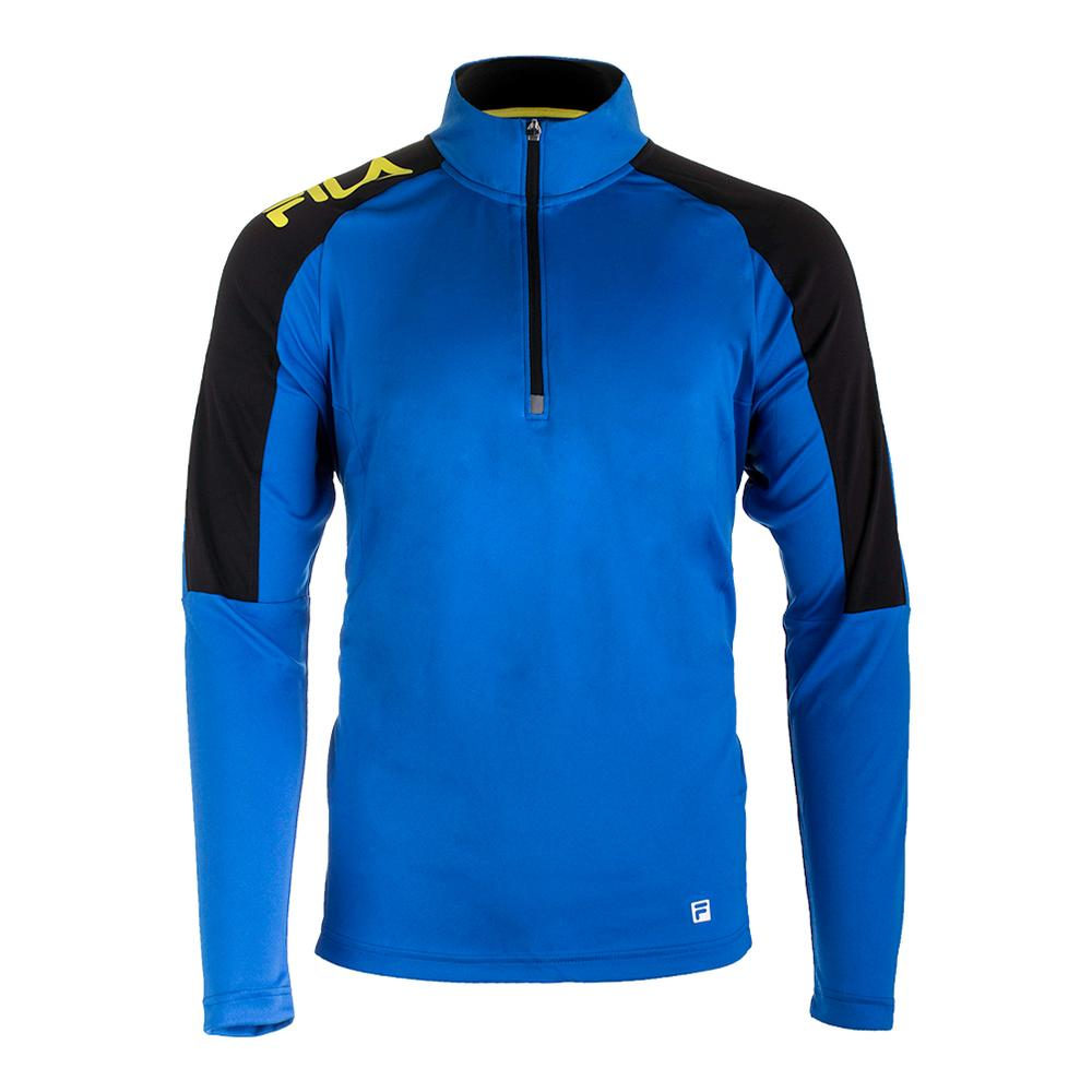 Men's Zephyr Quarter Zip Tennis Top 80s Blue