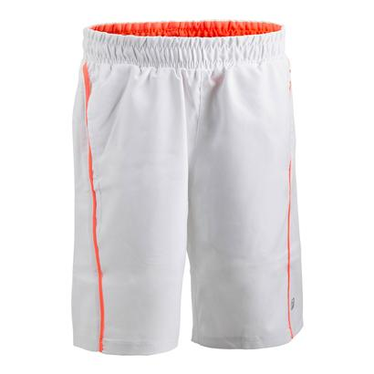 Boys` Fundamental Piped Tennis Short White and Bursting Marmalade