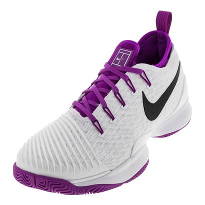 Women`s Air Zoom Ultrafly Low Tennis Shoes White and Vivid Purple