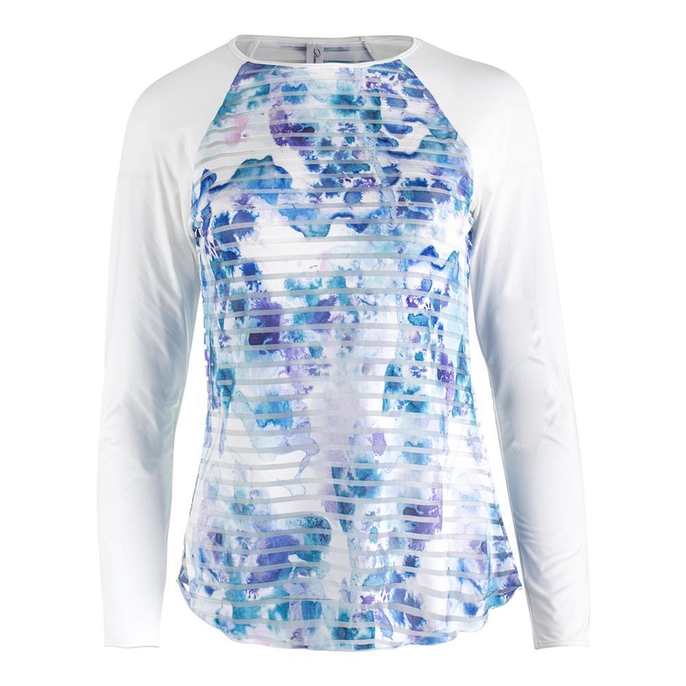 Women's Trista Long Sleeve Sheer Body Tennis Top Print