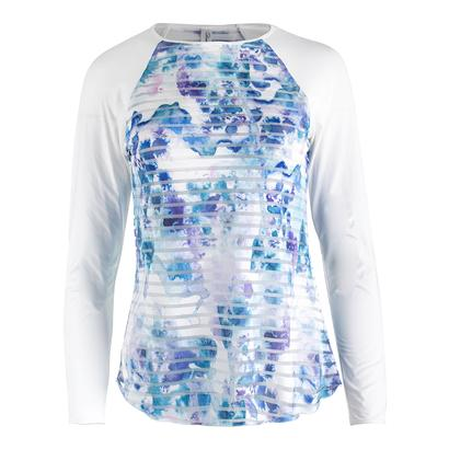Women`s Trista Long Sleeve Sheer Body Tennis Top Print