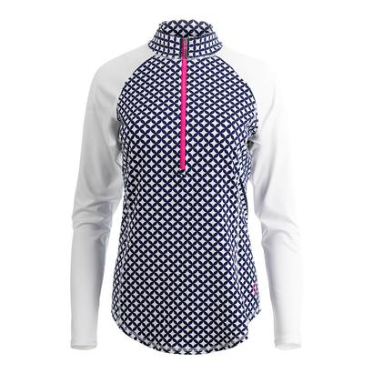 Women`s Long Sleeve Mock Tennis Top Diamond Print