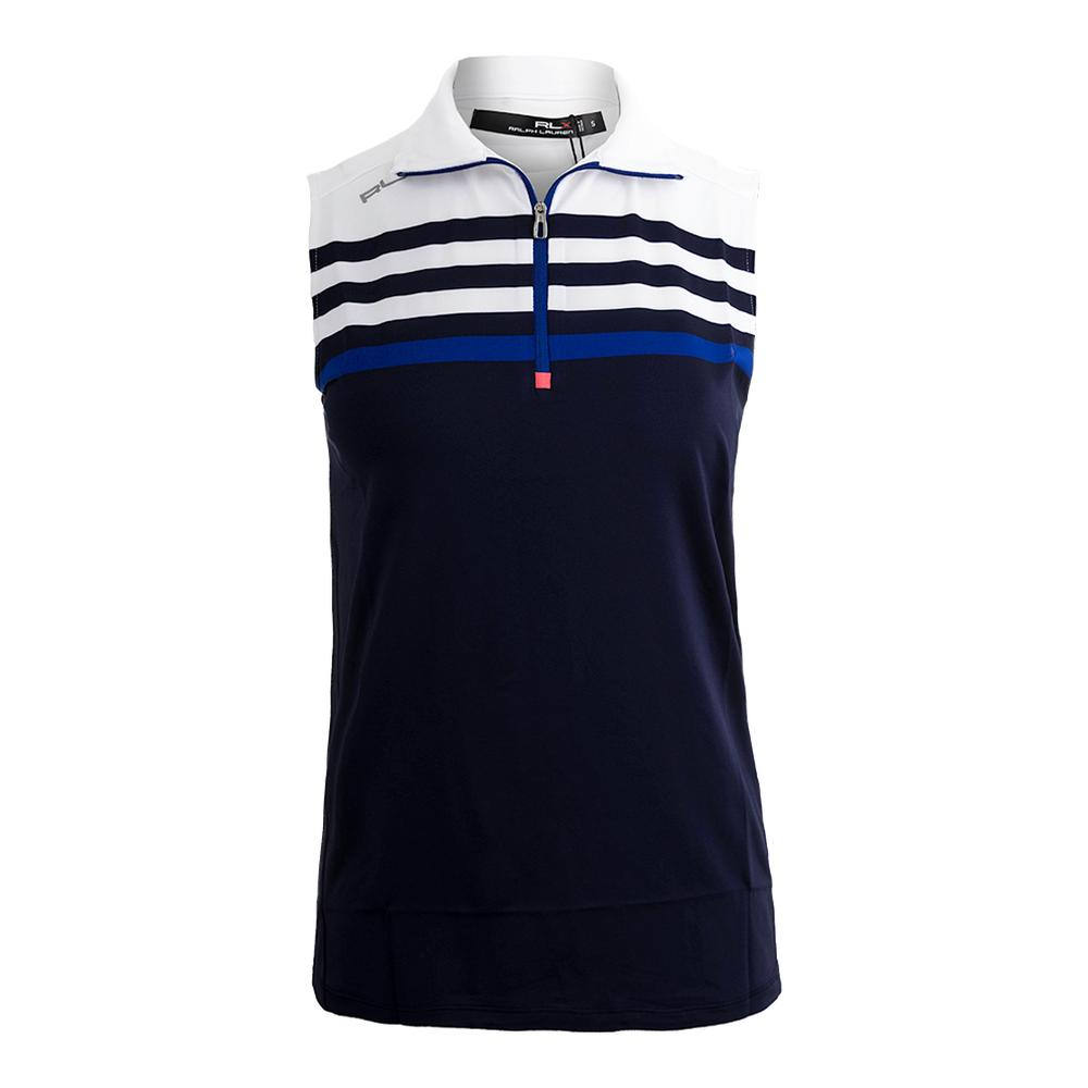 Women's Sleeveless Tennis Top White And Navy