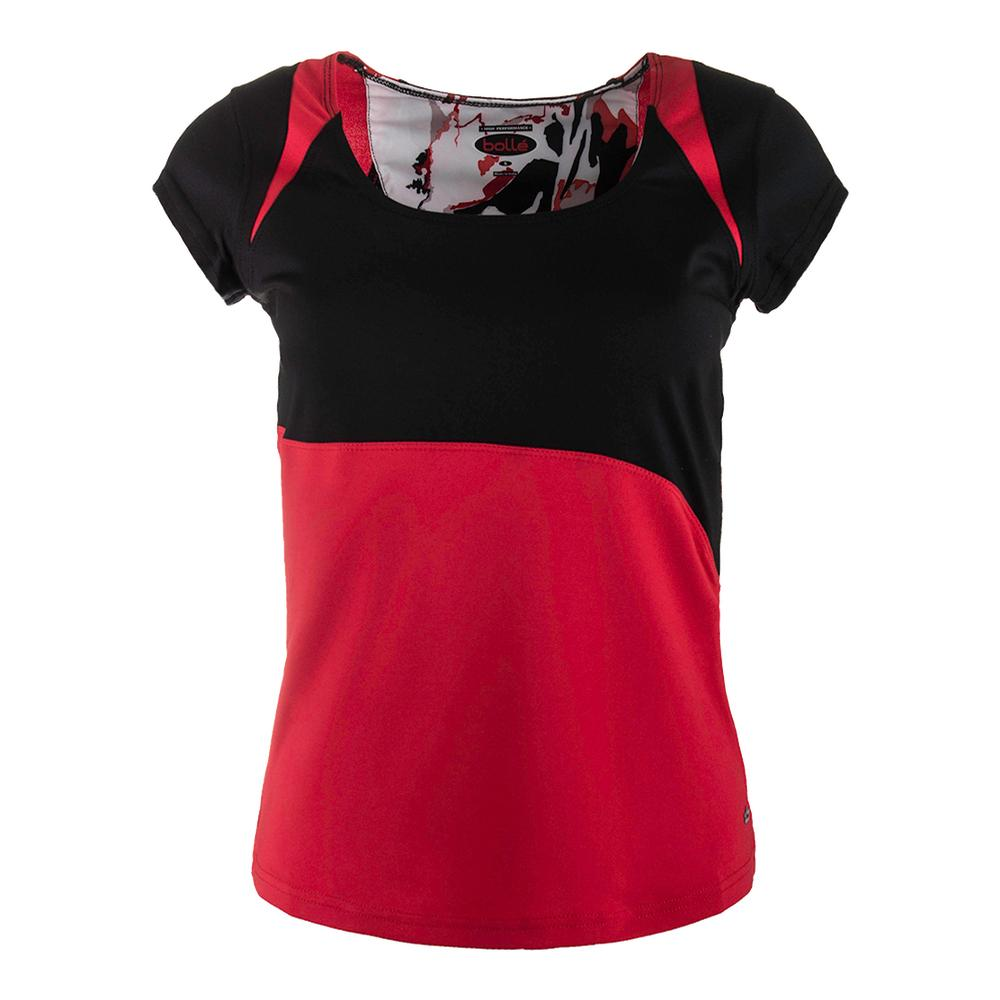 Women's Dominique Tennis Tank Black And Bolle Red