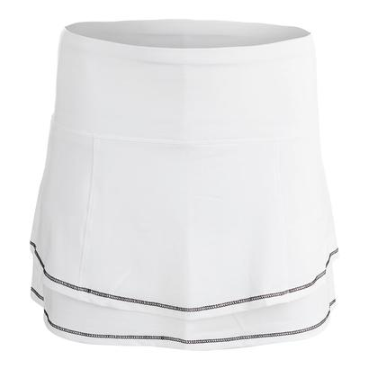 Women`s Long Back Pleat Tier Tennis Skort White