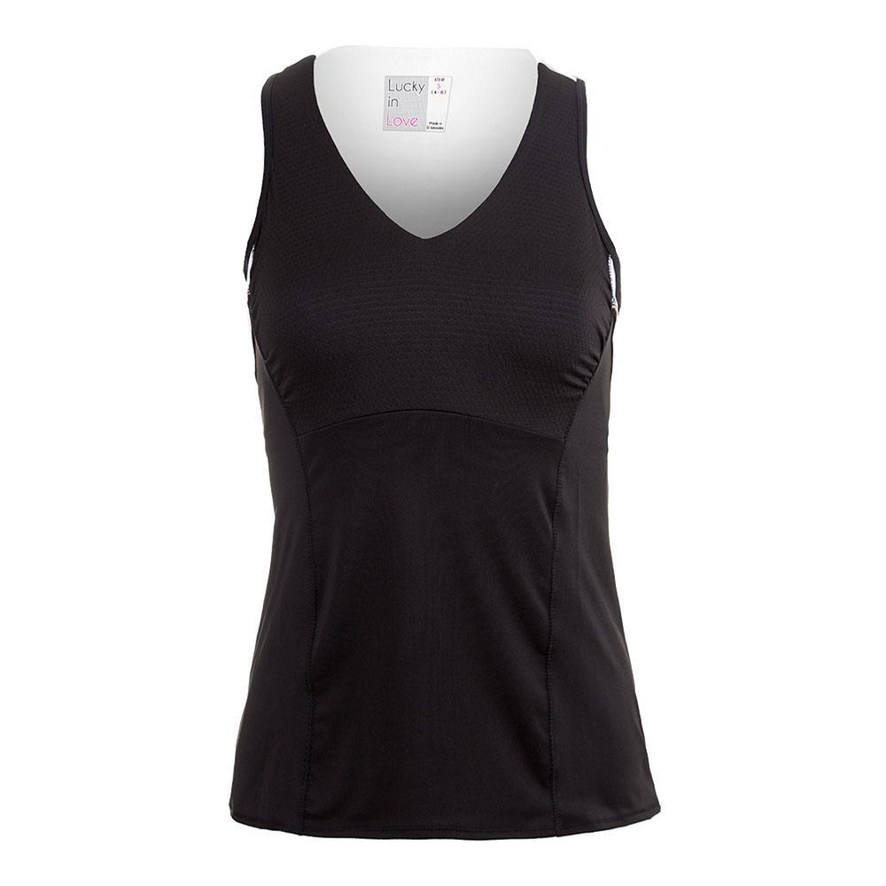Women's Sleeveless V- Neck Tennis Tank Black