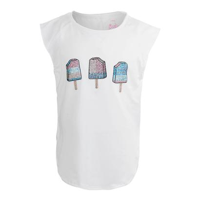 Girls` Icy Pop Rhinestone Tennis Tank White