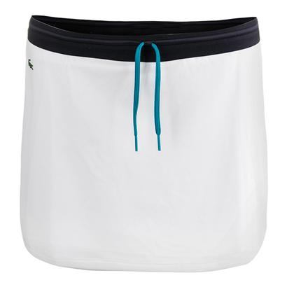 Women`s Contrast Waistband Technical Jersey Tennis Skirt White and Navy