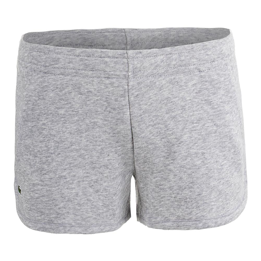 Women's Drawstring Waist Fleece Tennis Short Silver Gray Chine