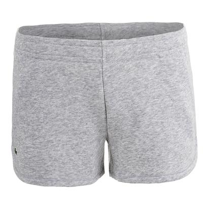 Women`s Drawstring Waist Fleece Tennis Short Silver Gray Chine