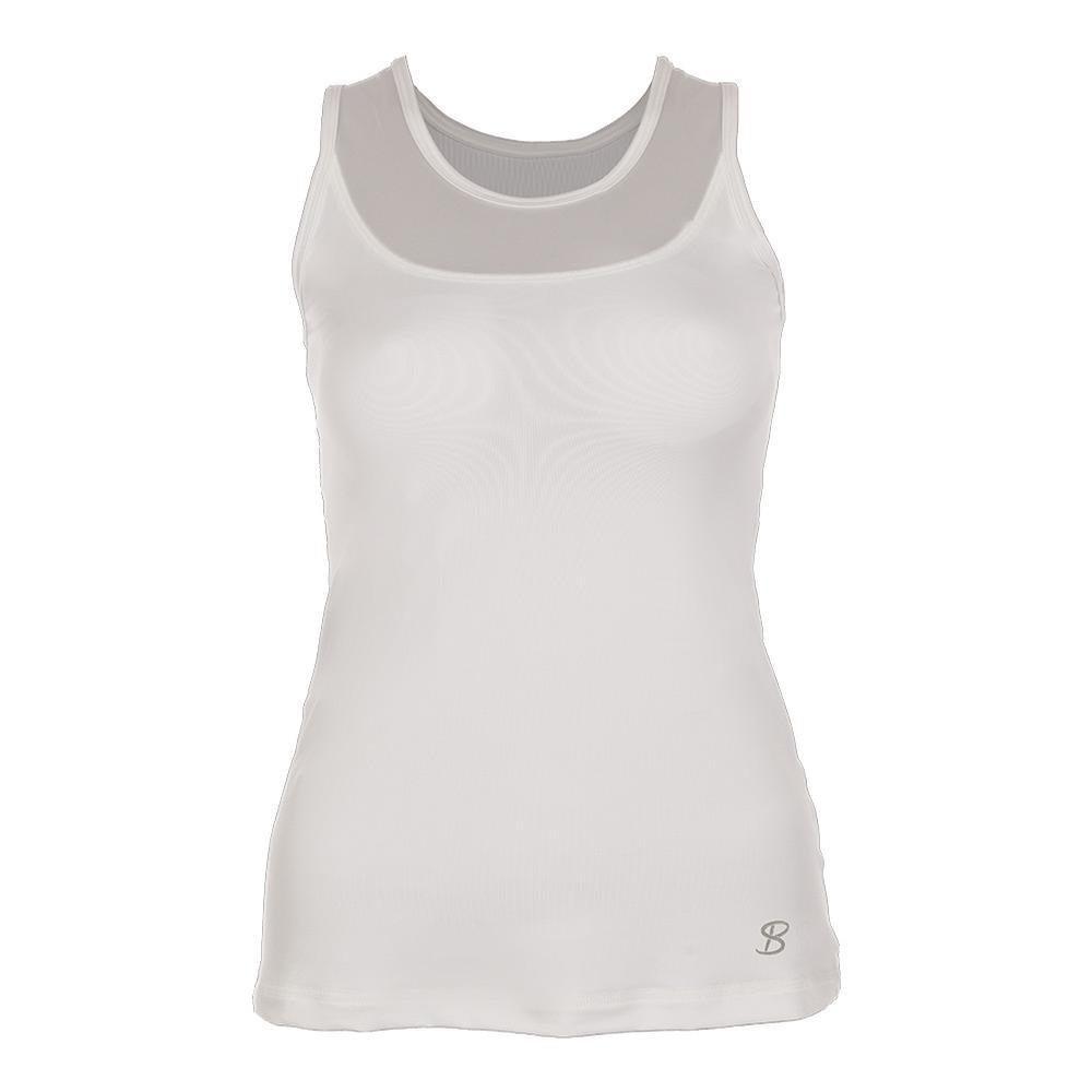 Women's Full Back Athletic Tennis Tank White
