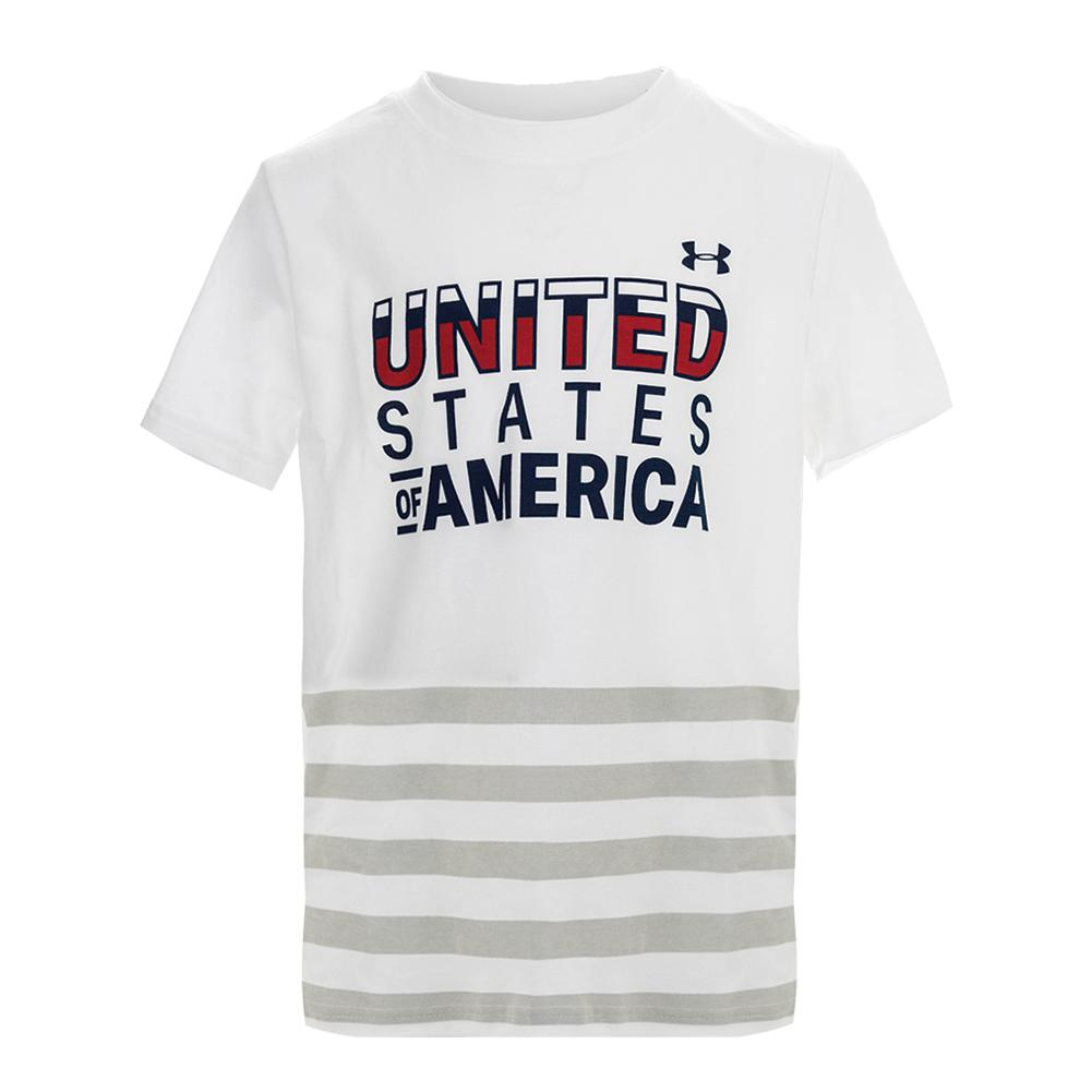 Boys ` Usa Short Sleeve Tee White