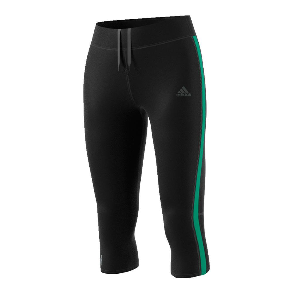 Women's Response 3 Quarter Tight Black And Core Green