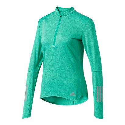 Women`s Response Half Zip Long Sleeve Tee Core Green