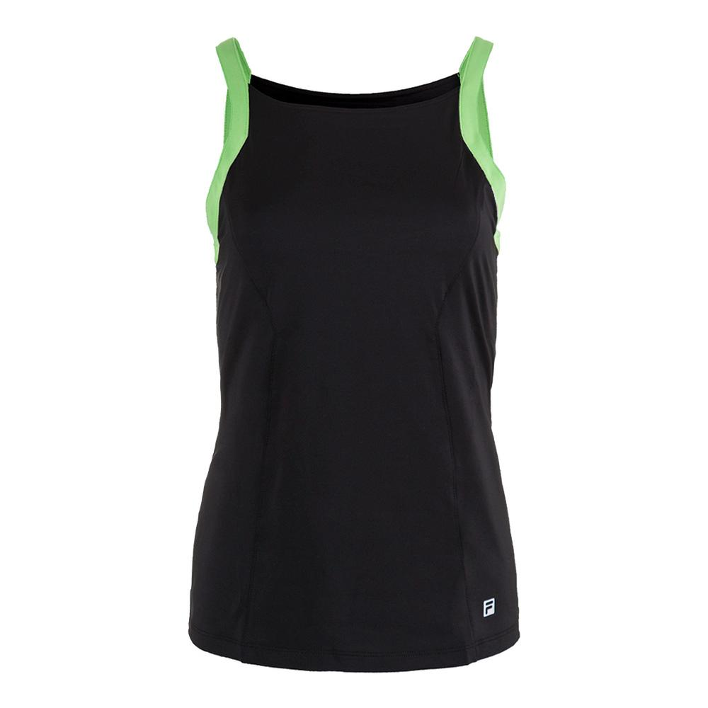 Women's Spotlight Tennis Tank Black And Lime Tonic