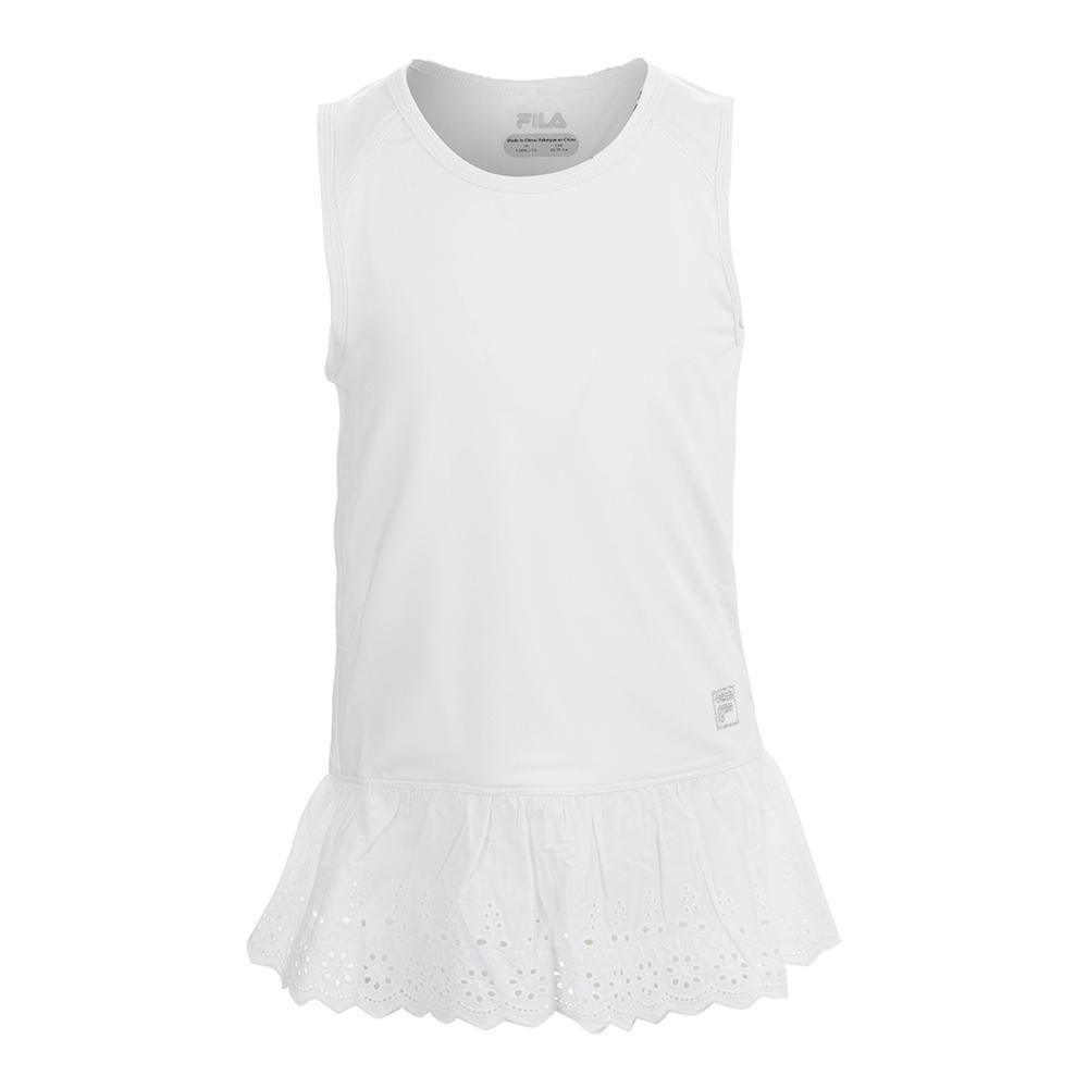 Girls ` Lace Tennis Tank White