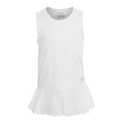 Girls` Lace Tennis Tank White