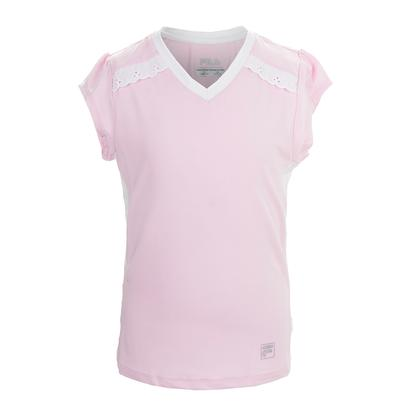Girls` Lace Cap Sleeve Tennis Top Ballet Pink