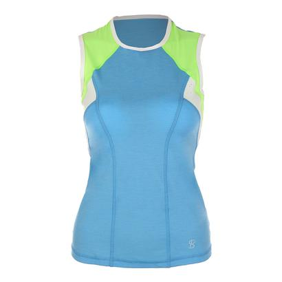 Women`s Classic Sleeveless Tennis Top Sky Blue and Glorious Green