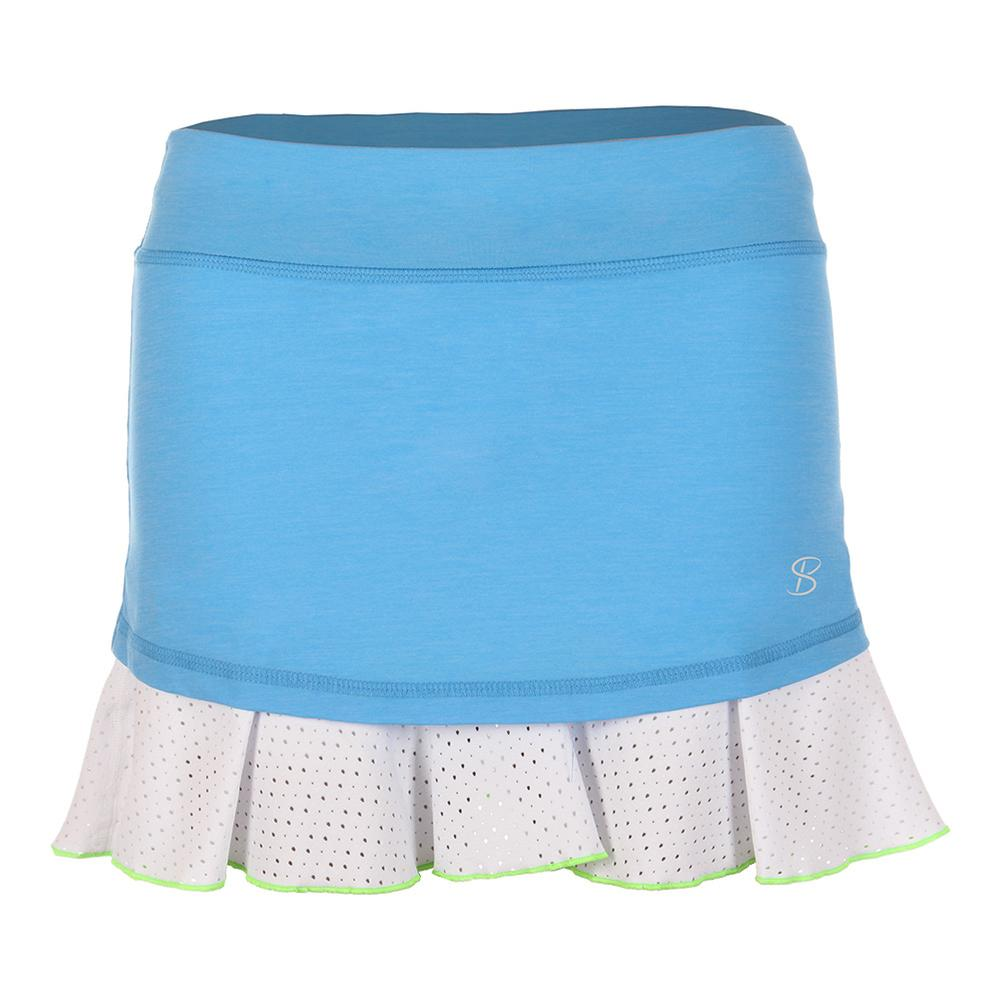 Women's 14 Inch Tennis Skort Sky Blue And White