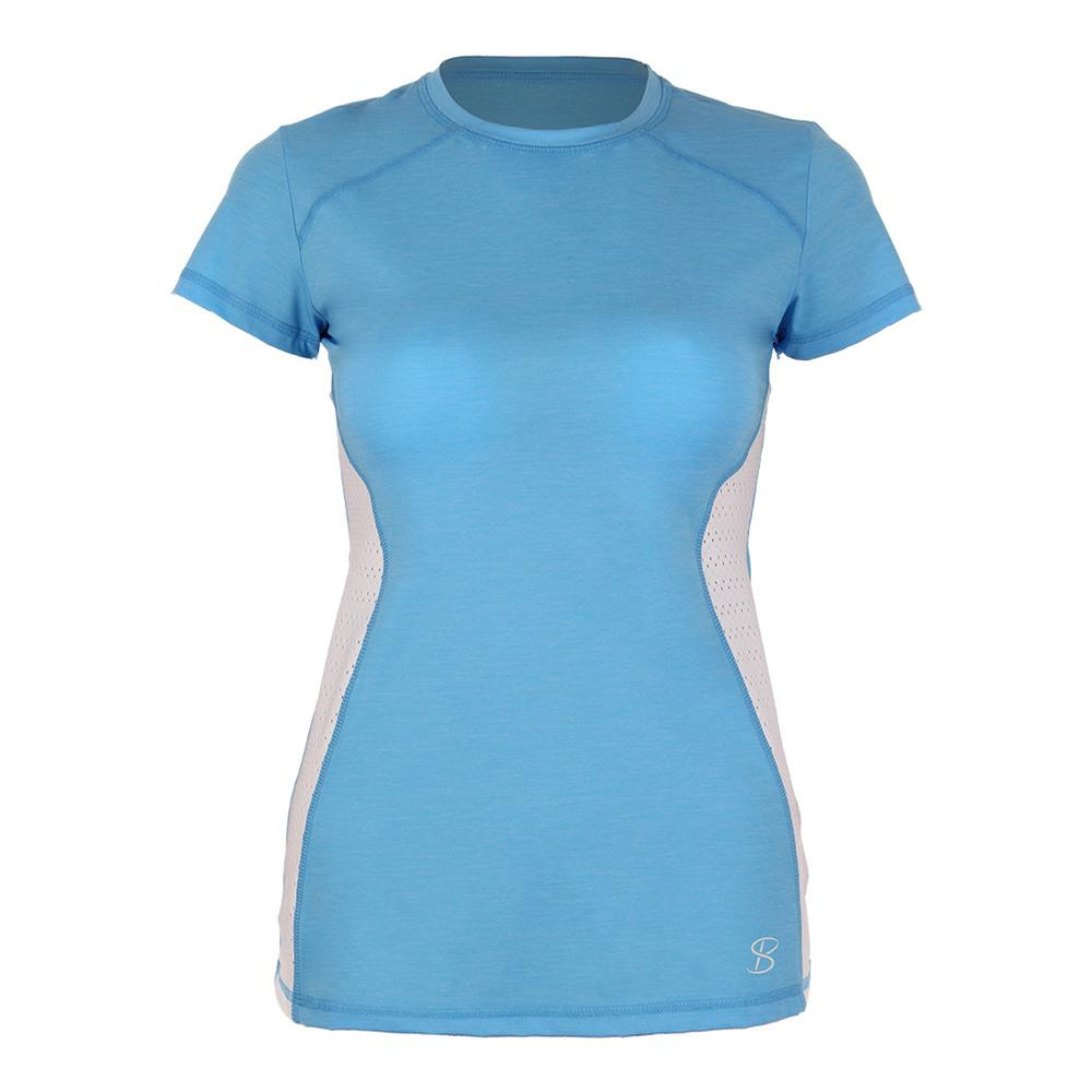 Women's Classic Short Sleeve Tennis Top Sky Blue And White