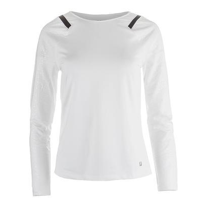 Women`s Spotlight Long Sleeve Tennis Top White and Black