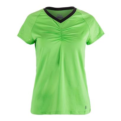 Women`s Spotlight Short Sleeve Tennis Top Lime Tonic