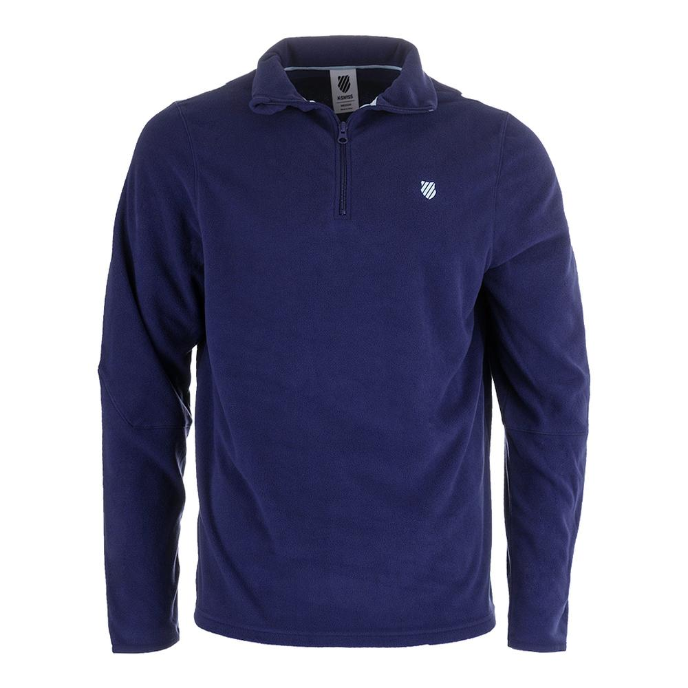 Men's Long Sleeve Tennis Pullover Twilight Blue And Aquamarine