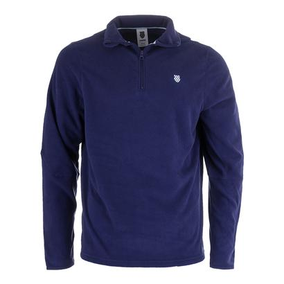 Men`s Long Sleeve Tennis Pullover Twilight Blue and Aquamarine