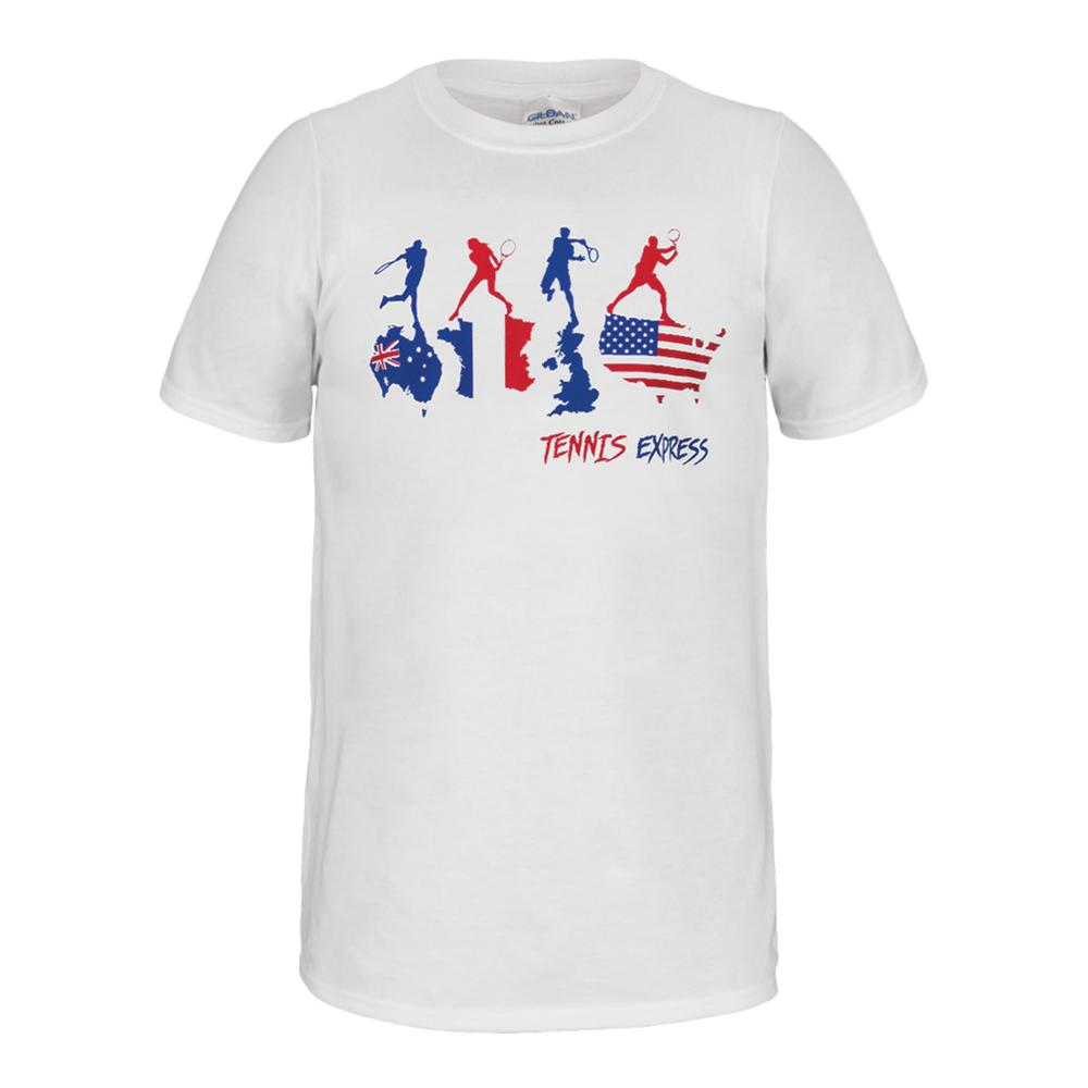 Unisex Flag Tennis Slam Tee White