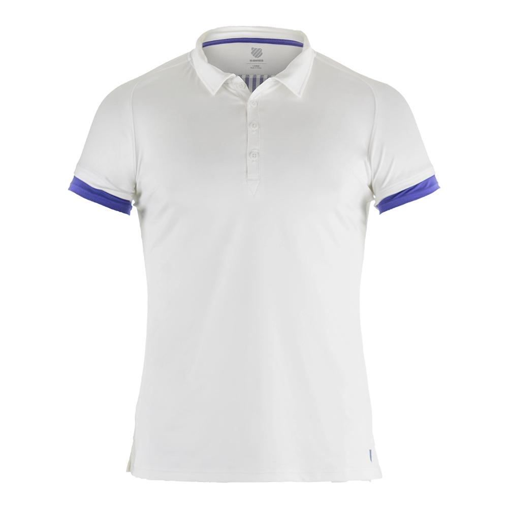 Women's Club Tennis Polo White And Deep Ultramarine