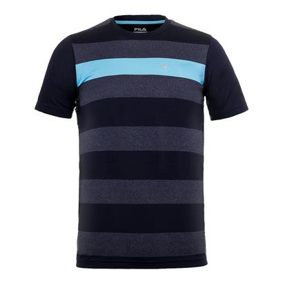 Men`s Legend Stripe Tennis Crew Navy and Navy Heather