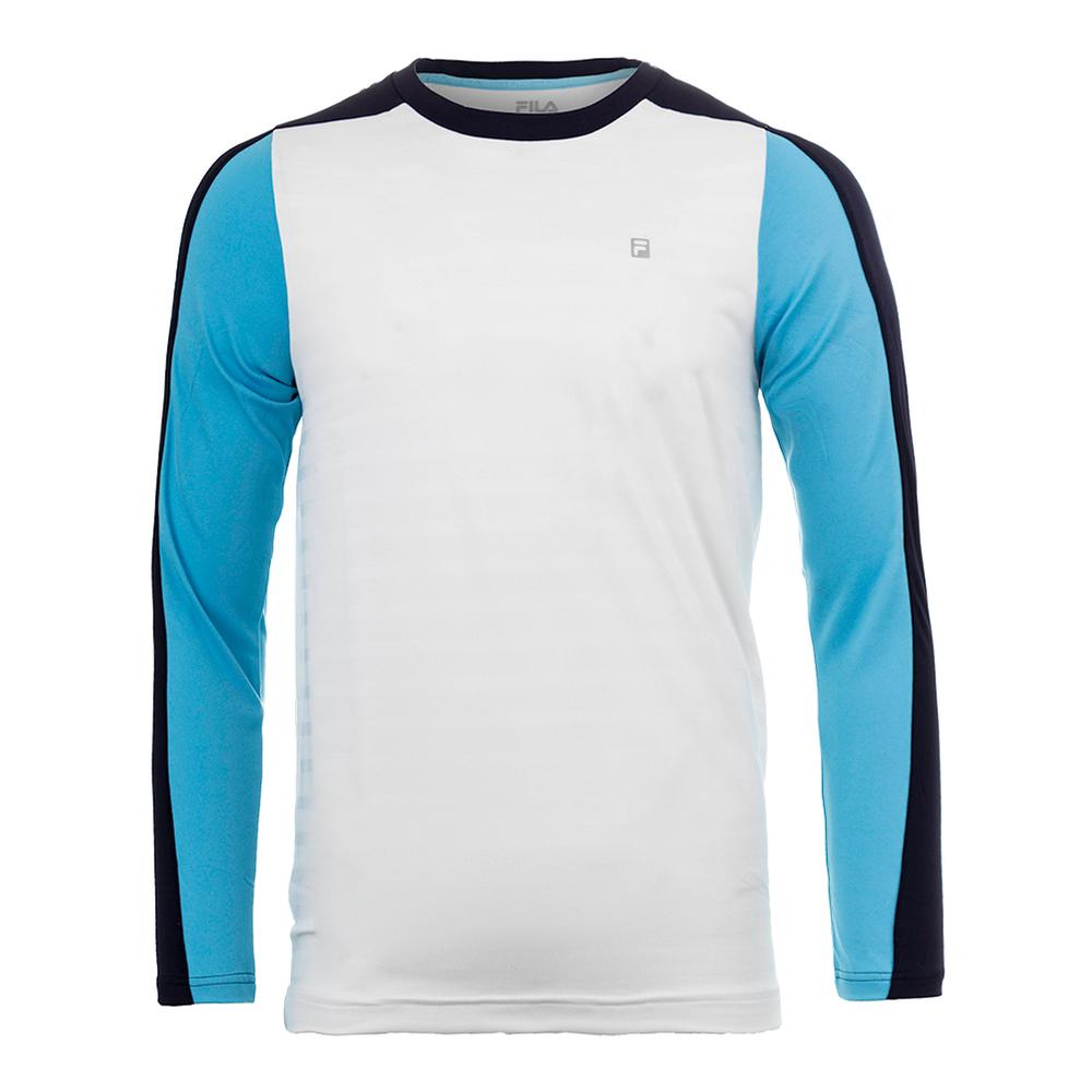 Men's Legend Long Sleeve Tennis Top White And Navy