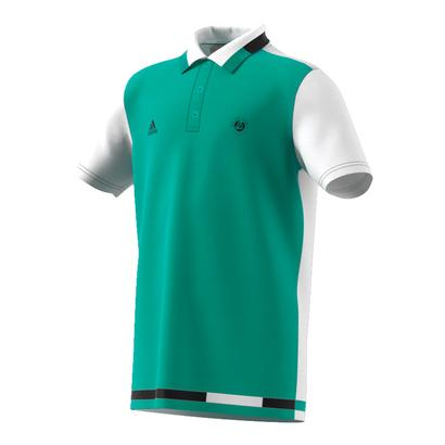 Boys` Roland Garros Tennis Polo Core Green and White