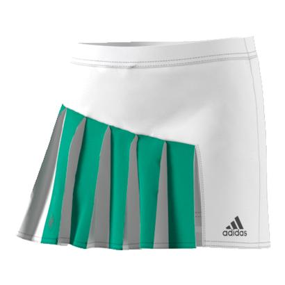 Girls` Roland Garros Tennis Skirt White and Core Green