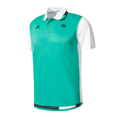 Men`s Roland Garros Tennis Polo Core Green and White
