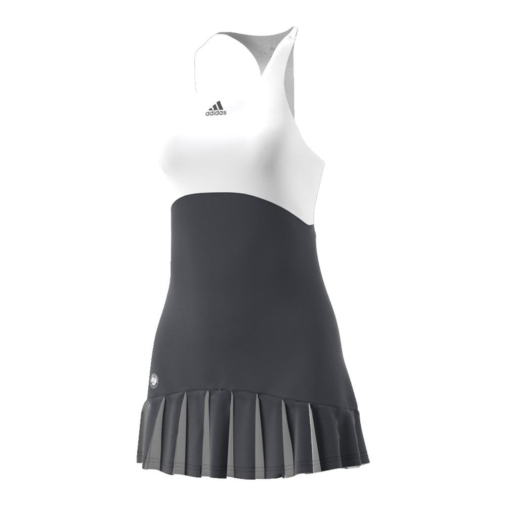 Women's Roland Garros On Court Tennis Dress Night Gray And White