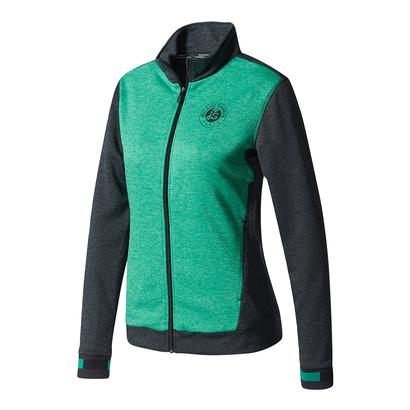 Women`s Roland Garros Tennis Jacket Night Gray and Core Green