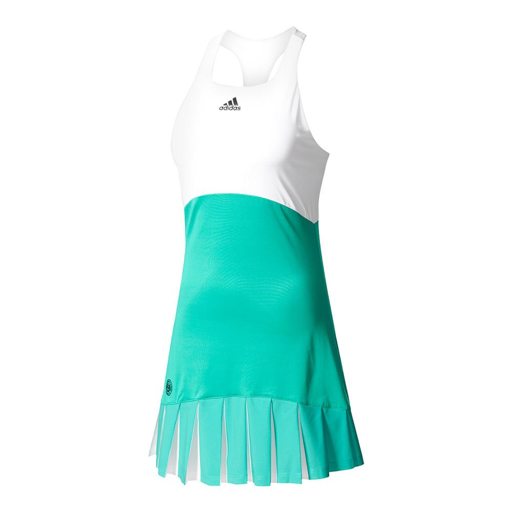 Women's Roland Garros On Court Tennis Dress Core Green And White