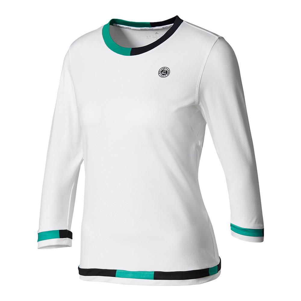Women's Roland Garros Three- Quarter- Sleeve Tennis Tee White And Core Green