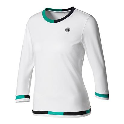 Women`s Roland Garros Three-Quarter-Sleeve Tennis Tee White and Core Green