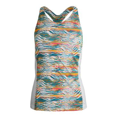 Women`s Tropical Crossback Tennis Tank Print and White